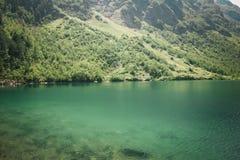 Paesaggio dell'alta montagna con il lago e di alto picco un chiaro giorno Fotografie Stock Libere da Diritti