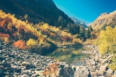 Paesaggio dell'alta montagna con il lago e di alto picco un chiaro giorno Immagine Stock