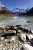 Paesaggio dell'alta montagna con il lago e l'alto picco Fotografie Stock