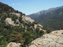 Paesaggio dell'alta montagna sulla Corsica, alpi di Corsician sul famo GR20 Fotografie Stock