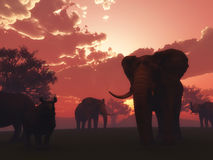 paesaggio dell'animale selvatico 3D Fotografie Stock