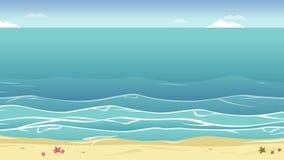 Paesaggio dell'animazione tropicale della spiaggia illustrazione di stock