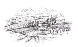 Paesaggio dell'annata Azienda agricola, agricoltura o schizzo del giacimento di grano Fotografie Stock