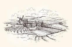 Paesaggio dell'annata Azienda agricola, agricoltura o schizzo del giacimento di grano Illustrazione di vettore Immagini Stock