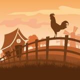 Paesaggio dell'azienda agricola al tramonto Immagini Stock Libere da Diritti