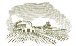 Paesaggio dell'azienda agricola con il granaio Immagine Stock Libera da Diritti