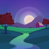 Paesaggio dell'azienda agricola di notte Immagine Stock