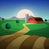 Paesaggio dell'azienda agricola di notte illustrazione di stock