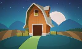 Paesaggio dell'azienda agricola di notte Fotografia Stock Libera da Diritti