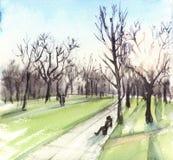 Paesaggio dell'illustrazione dell'acquerello con il sole e gli alberi Tramonto nel parco illustrazione di stock