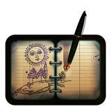Paesaggio dell'illustrazione della penna Immagini Stock Libere da Diritti