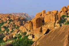 Paesaggio dell'India il Karnataka Hampi Roks Immagine Stock