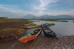 Paesaggio dell'Indonesia a rawapening Java centrale fotografia stock libera da diritti