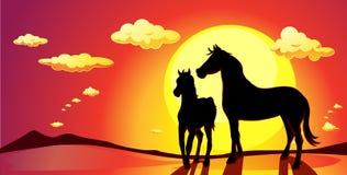 Paesaggio dell'insegna con i cavalli nel tramonto - vettore Immagini Stock