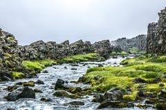 Paesaggio dell'Islanda con il fiume fotografia stock libera da diritti