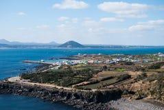Paesaggio dell'isola della mucca nell'isola di Jeju, Corea del Sud Fotografia Stock Libera da Diritti