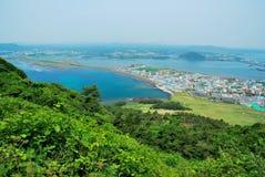 Paesaggio dell'isola di Jeju dal picco di alba Immagini Stock Libere da Diritti