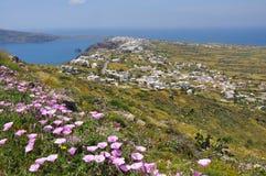 Paesaggio dell'isola greca Santorini Fotografie Stock Libere da Diritti