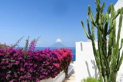 Paesaggio dell'isola vulcanica di Stromboli fotografia stock libera da diritti