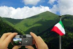 Paesaggio dell'italiano del montaggio della foto illustrazione vettoriale