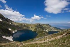 Paesaggio dell'occhio e dei laghi kidney, i sette laghi Rila, Bulgaria Immagine Stock Libera da Diritti