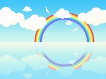 Paesaggio dell'oceano con il Rainbow e gli uccelli. Immagine Stock
