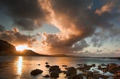 Paesaggio dell'oceano di alba di Bbeautiful Fotografie Stock