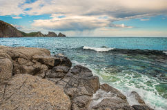 Paesaggio dell'oceano Pacifico, vista sul mare selvaggia Fotografie Stock Libere da Diritti
