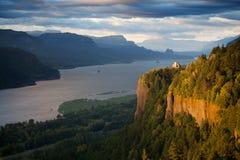 Paesaggio dell'Oregon - fiume di Colombia del punto della parte superiore Fotografie Stock