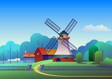 Paesaggio della campagna con il mulino e l'azienda agricola sul prato, alberi e foresta su fondo - illustrazione piana di vettore fotografie stock libere da diritti