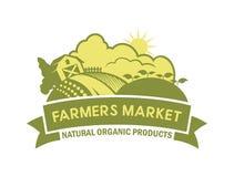 Paesaggio della campagna con l'azienda agricola - emblema di stile di eco illustrazione di stock