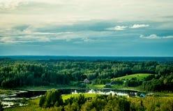 Paesaggio della campagna delle foreste verdi Fotografie Stock