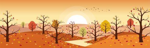 Paesaggio della campagna di autunno con il fiume Paesaggi delle montagne con gli alberi e la caduta fogliame giallo e rosso Orizz illustrazione di stock