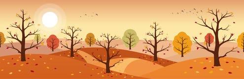 Paesaggio della campagna di autunno Paesaggi delle montagne con gli alberi e la caduta fogliame giallo e rosso illustrazione di stock