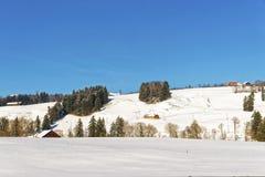 Paesaggio della campagna nevosa della Svizzera nell'inverno Immagine Stock Libera da Diritti