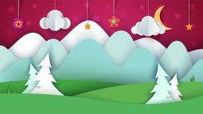 Paesaggio della carta del fumetto Albero, fiore, nuvola, erba, luna, stella royalty illustrazione gratis