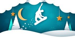 Paesaggio della carta del fumetto dello snowboard Abete, luna, fiocchi di inverno royalty illustrazione gratis