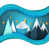 Paesaggio della carta del fumetto di inverno Buon Natale, nuovo anno felice Abete, luna, nuvola, stella, montagna, neve illustrazione vettoriale