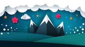 Paesaggio della carta del fumetto Montagna, fiore, nuvola royalty illustrazione gratis
