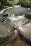 Paesaggio della cascata di Becky Falls nell'inglese del parco nazionale di Dartmoor immagini stock libere da diritti