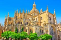 Paesaggio della cattedrale di Segovia e plaza mA del quadrato principale Immagine Stock Libera da Diritti