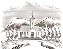 Paesaggio della chiesa Fotografie Stock
