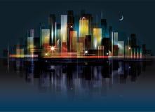 Paesaggio della città alla notte Immagini Stock Libere da Diritti