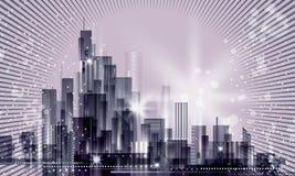 Paesaggio della città alla notte Immagine Stock Libera da Diritti
