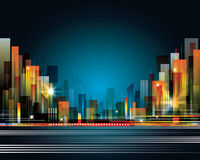 Paesaggio della città alla notte Fotografia Stock Libera da Diritti