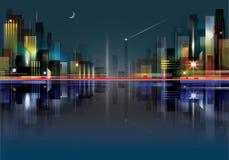 Paesaggio della città alla notte Fotografie Stock