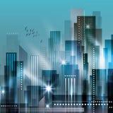Paesaggio della città alla notte Immagine Stock