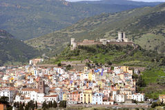 Paesaggio della città antica di Bosa Fotografie Stock Libere da Diritti