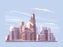 Paesaggio della città con i grattacieli royalty illustrazione gratis