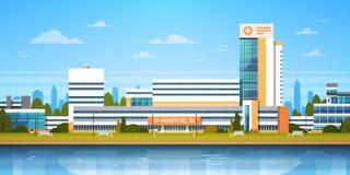 Paesaggio della città con l'ospedale che sviluppa vista moderna esteriore della clinica illustrazione di stock